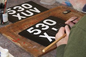 1940's 50's hand painted number plates