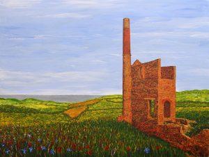 Artwork by Arne Barker Cornish tin mine.