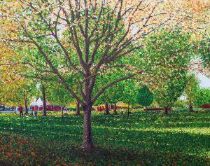 Artwork by Arne Barker Early Autumn in John Coles Park, Chippenham.