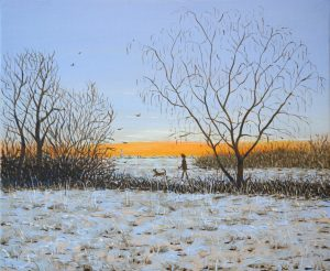 Artwork by Arne Barker Frosty Morning with dog