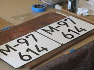 Signwriting by Arne Barker Hand painted Spanish classic number plates