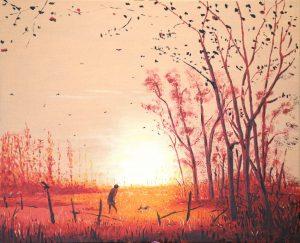 Artwork by Arne Barker With dog at daybreak.