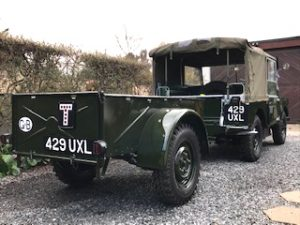 Old style number plates on Brockhouse trailer and Land-Rover