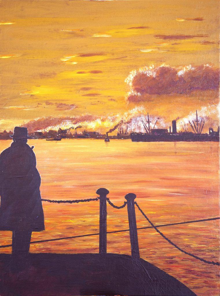 Thames 1950's - Gentleman watching river traffic