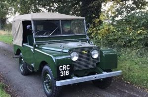Number-plate fitted to front of early 80 inch Land-Rover