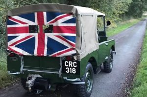 Number-plates fitted to rear of early 80 inch Land-Rover