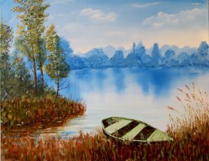 Rowboat in reeds