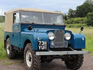 Blue Land-Rover Series 1 with hand painted plates