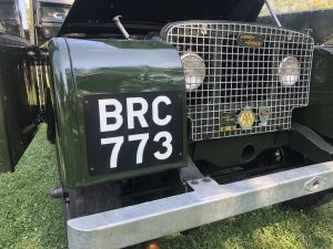 BRC 773 show plates on early Land-Rover