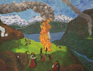 Midsummer eve bonfire - Norwegian fjord c 1910